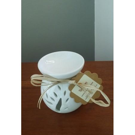 Brûle-Parfum  Arbre en céramique blanche