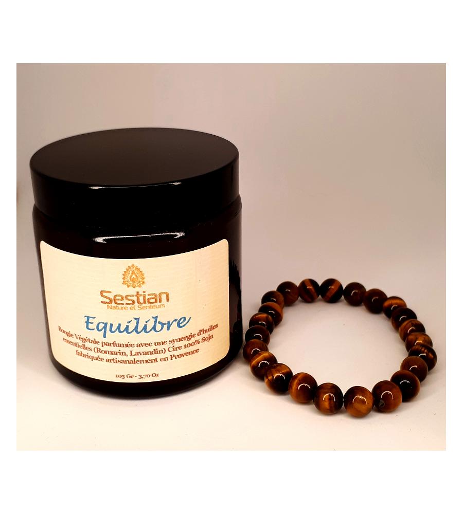Coffret Cadeau Bougie Synergie Equilibre + Bracelet œil du Tigre