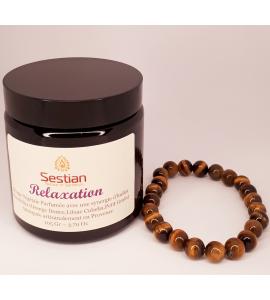 Coffret Cadeau Bougie Synergie Relaxation + Bracelet œil du Tigre