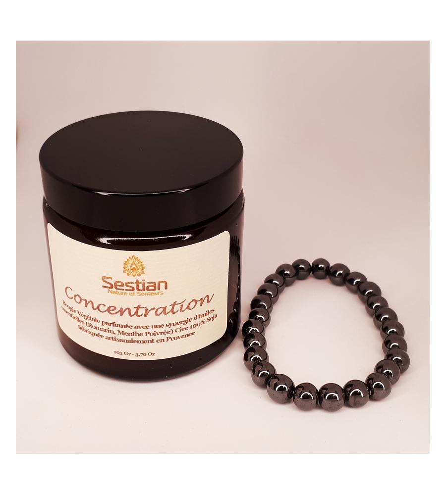 Coffret Cadeau Bougie Synergie Concentration + Bracelet Hématites